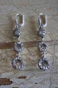 Antiqued Silver Triple Crystal Earrings | Earring | La Vie ...