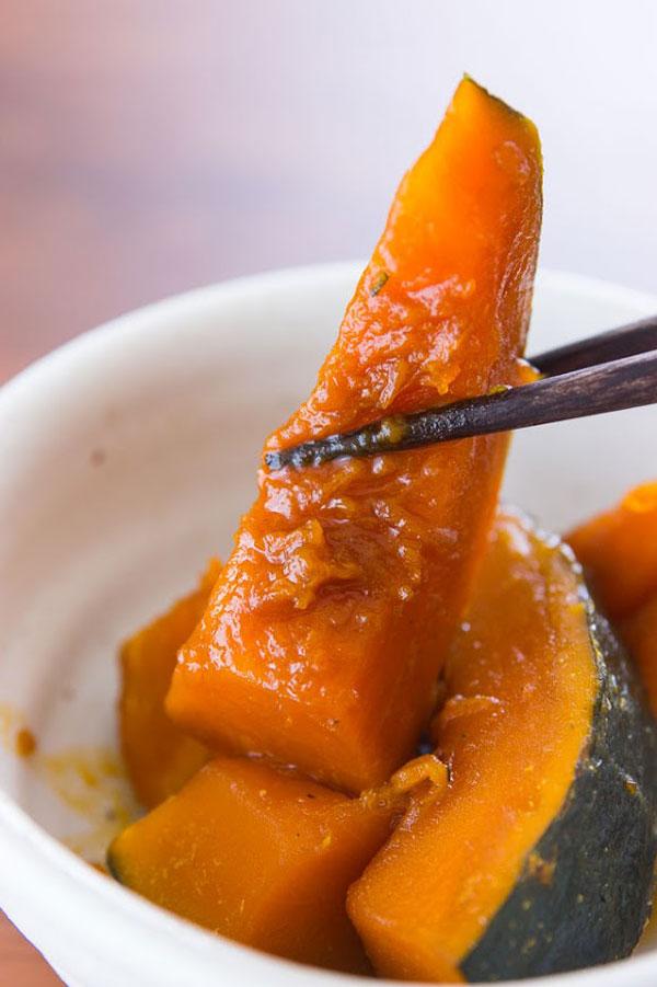 sweet and savory kabocha pumpkin the is marinated
