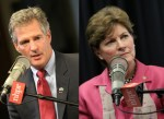 Democratic Senator Jeanne Shaheen and Republican challenger Scott Brown are in a tight race in New Hampshire, where women voters will likely choose the victor. Photos from NHPR
