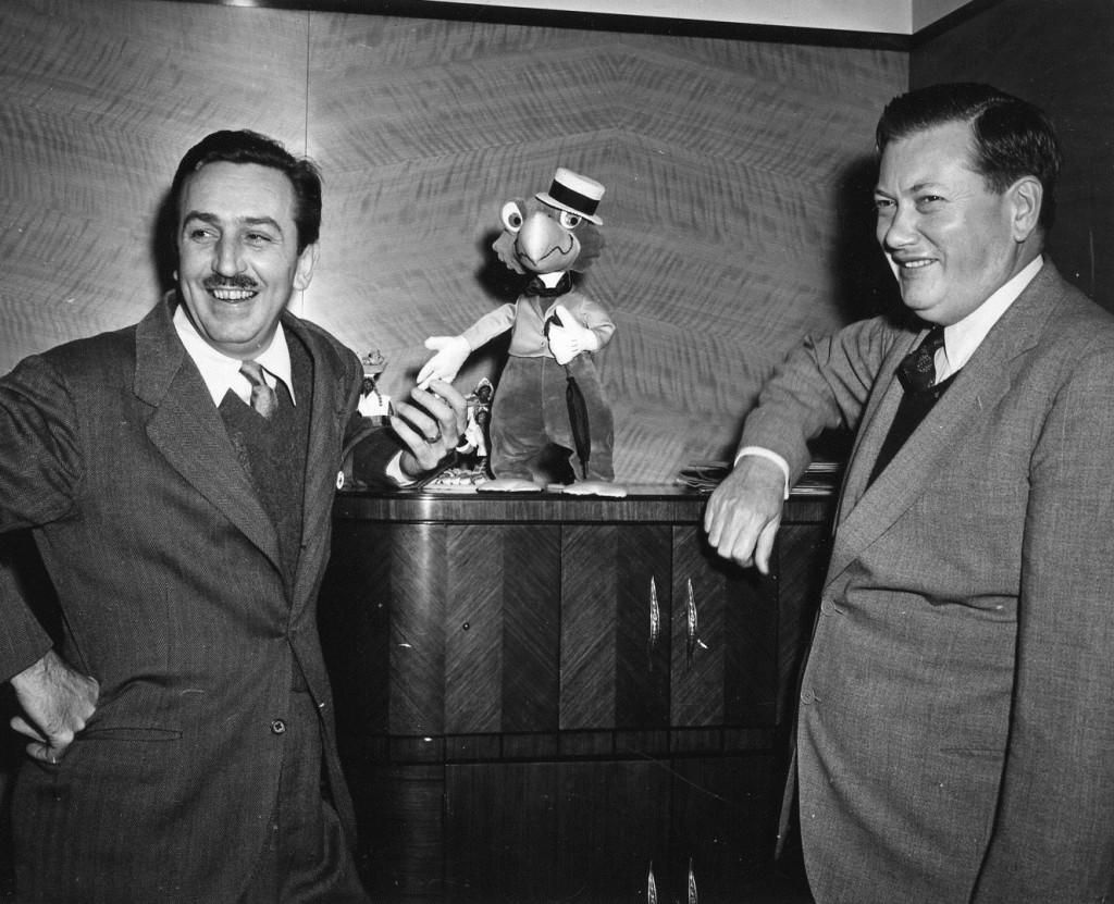 """Ralph Peer with Walt Disney and José Carioca from the Disney animated movie """"Saludos Amigos."""" Photo courtesy of the Peer family archives"""