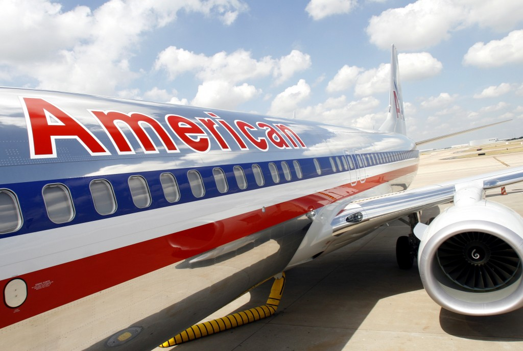 An American Airlines jet is seen here after a press conference at DFW Airport in Fort Worth, Texas, on Wednesday, July 20, 2011. Photo by Mike Fuentes/Bloomberg News