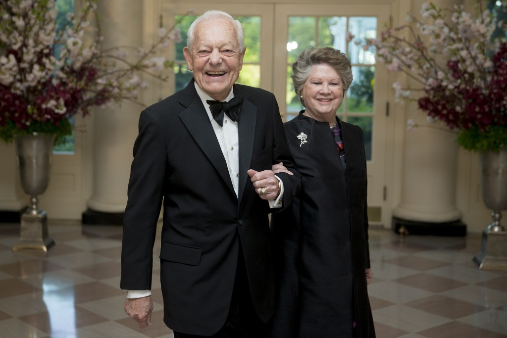 CBS News anchor Bob Schieffer, left, and Patricia Schieffer arrive at a state dinner hosted by President Barack Obama and first lady Michelle Obama in honor of Japan's Prime Minister Shinzo Abe at the White House in Washington, D.C., on April 28. Photo by Andrew Harrer/Bloomberg via Getty Images