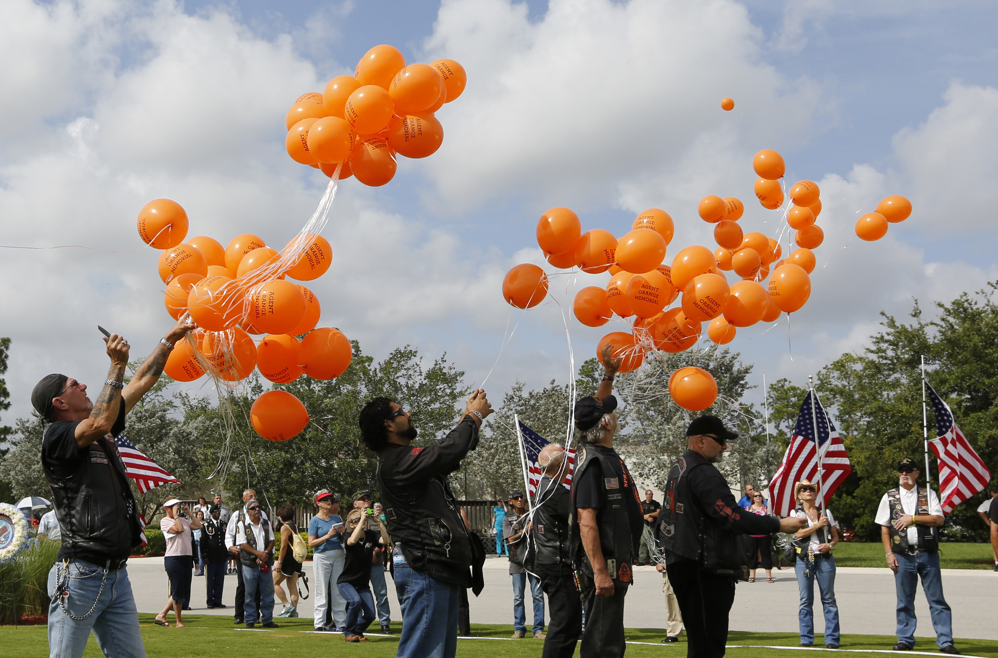 Members of a veteran's group release balloons for the Agent Orange Memorial for those affected by the chemical agent in Vietnam at a Memorial Day Ceremony at the South Florida National Cemetery in Lake Worth, Florida May 27, 2013. The severe, lasting health effects of Agent Orange continue to effect veterans and citizens in both the U.S. and Vietnam, including Air Force reservists who worked on planes in the Vietnam-era. Photo by Joe Skipper/Reuters