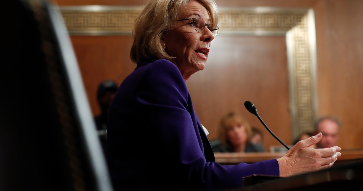 Democrats Demand Betsy Devos Reveal >> Devos Is Questioned About Campaign To Influence Climate Change