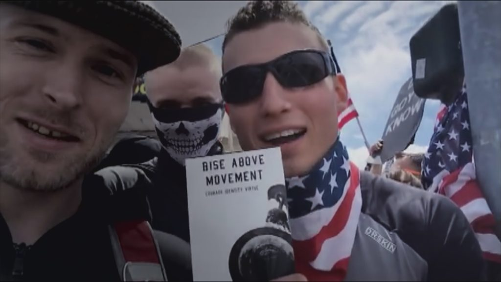 """A still from """"Documenting Hate: Charlottesville"""" that pictures Robert Rundo on the right."""
