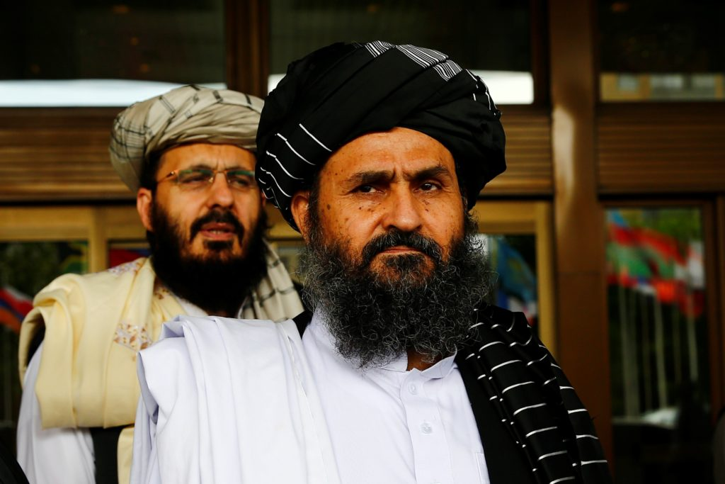 Mullah Abdul Ghani Baradar (front) pictured on May 30, 2019 in Moscow, Russia.