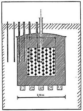 A diagram of the final lattice design of a nuclear reactor.