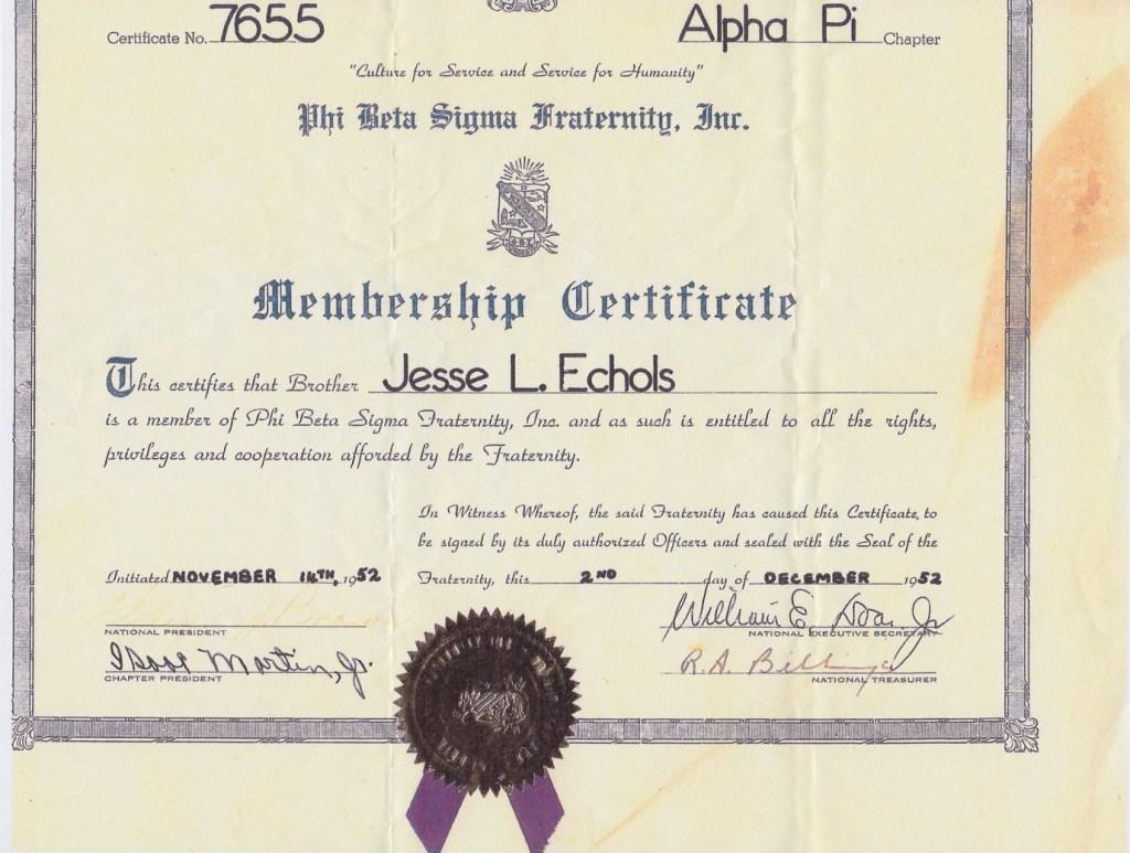 Jesse Echols Membership Certificate