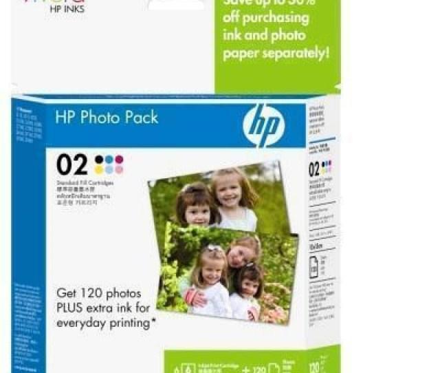 Hp Genuine 02 Series Ink Cartridge Black Cyan Light Cyan Light Magenta Magenta Yellow 6 Inks Advanced Photo Value Pack W 120 Sheets