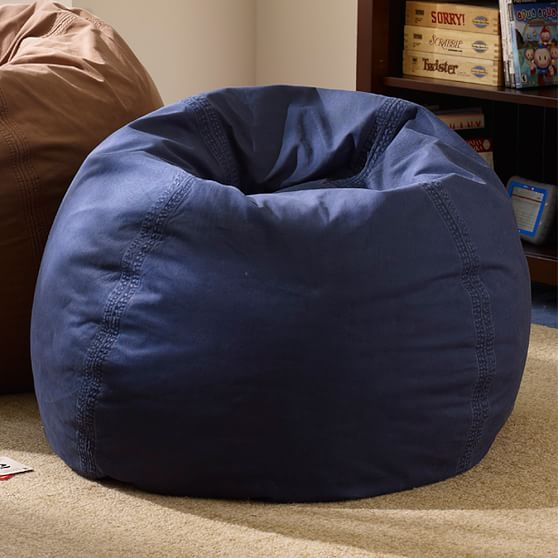 blue bean bag chairs gold satin chair covers navy washed twill beanbag pbteen scroll to next item