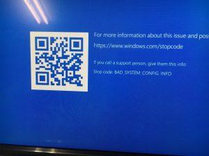 BAD SYSTEM CONFIG INFOとブルースクリーンに表示され起動できないPCの修理