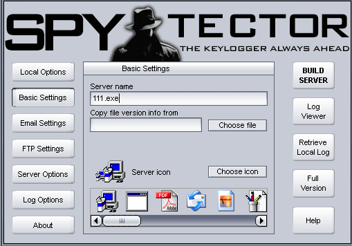 spytector settings