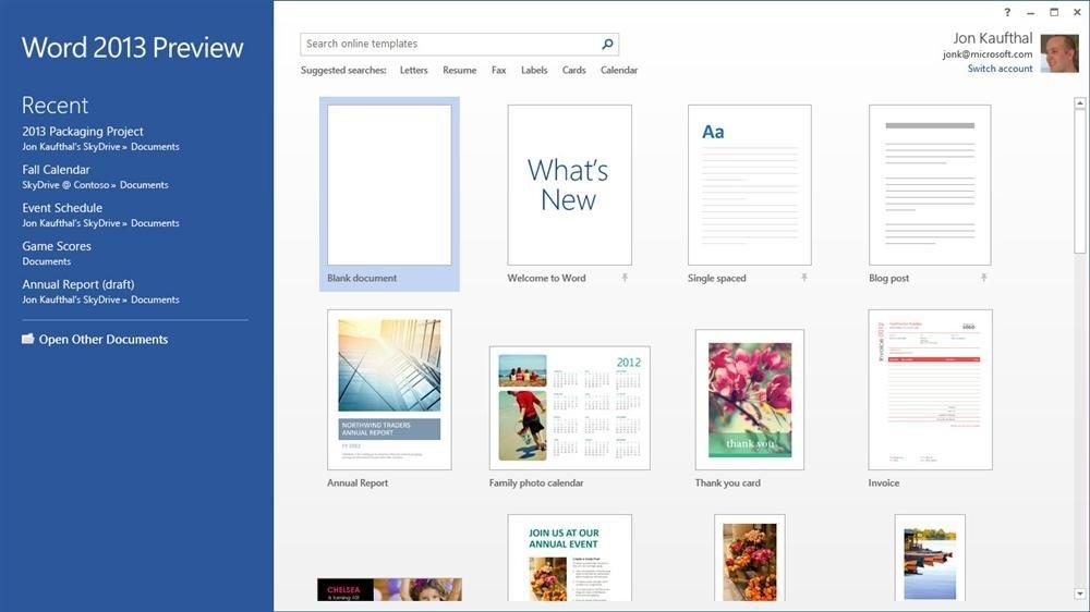 Pantalla de inicio de Word en Office 365