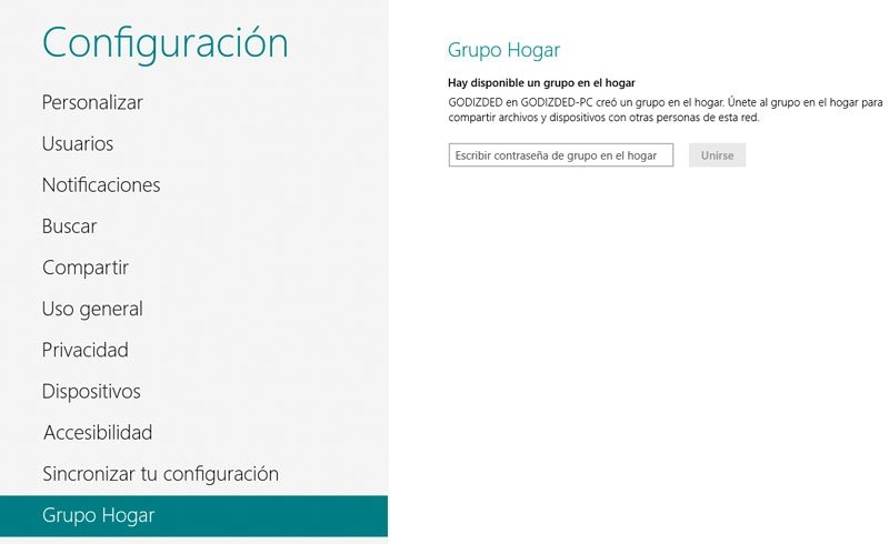 Windows 8 Grupo Hogar