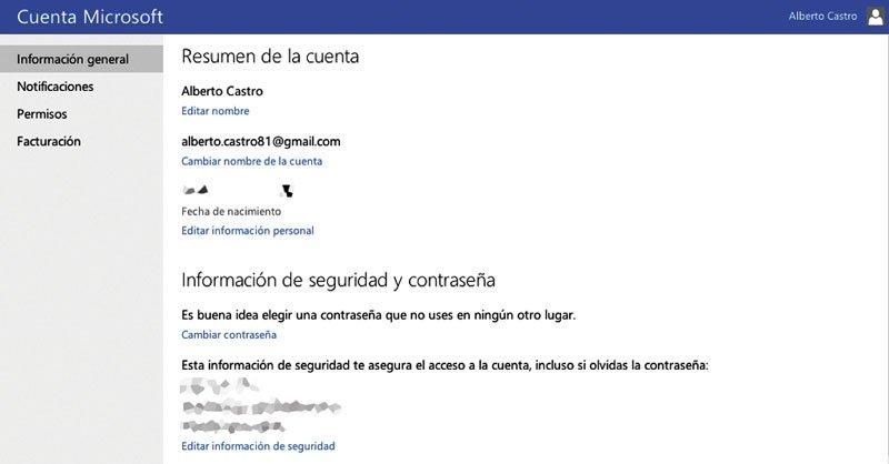 Verificación en dos pasos Microsoft