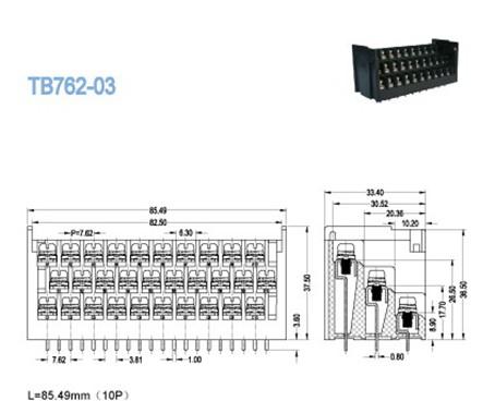 15A 10 x 3 Pin Barrier Terminal Block , High Voltage