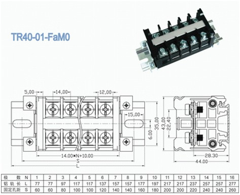 Pitch 14.00mm Rail Mounted Barrier Terminal Block for PCB