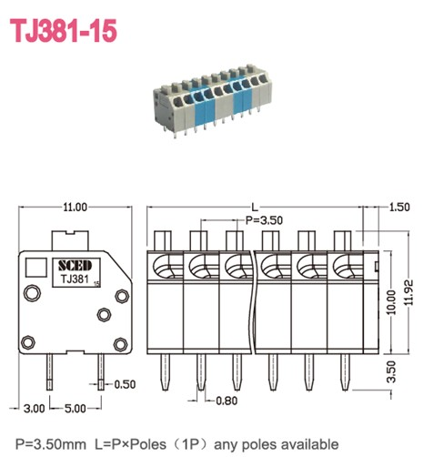 3.50mm Screwless Pcb Spring Terminal Block For Electric