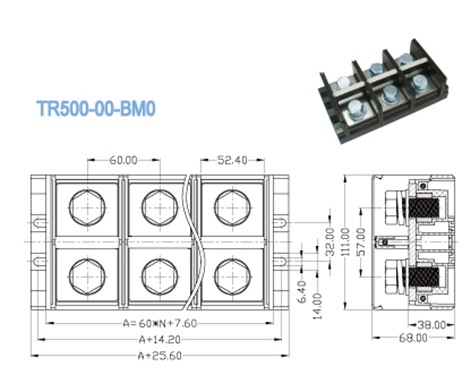 600V 500A High Current Terminal Blocks / Right Angle Wire