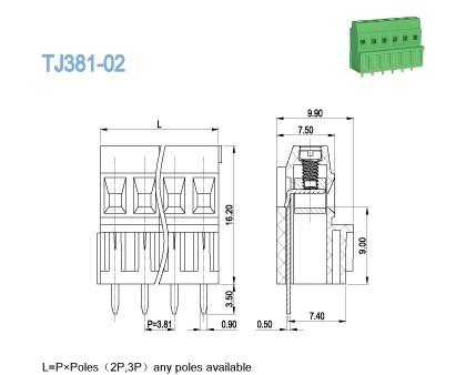 300V 10A 28P PCB Screw Clamp Terminal Block 3.81mm Pitch