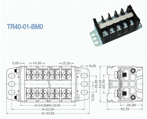 14.00mm Panel Mount Electrical Terminal Block , 600v 40a