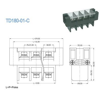 Single Deck Through Panel Terminal Block Connector Pitch