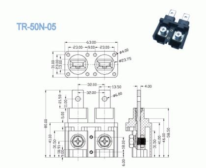 2 Pin Through Panel Terminal Blocks PCB 160a High Voltage