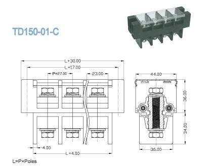 Cable Feed Through Panel Terminal Block Connector Single Deck