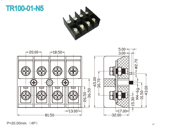 20.00mm High Current Terminal Block Connector 600V 100A 4