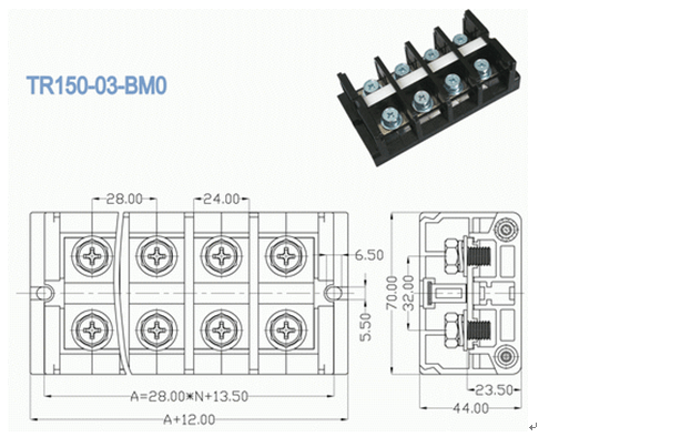 High Current Terminal connector Pitch 28.00mm 600V 150A