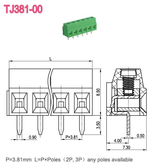 Pitch 3.5mm 3.81mm PCB Screw Terminal Block Brass Terminal