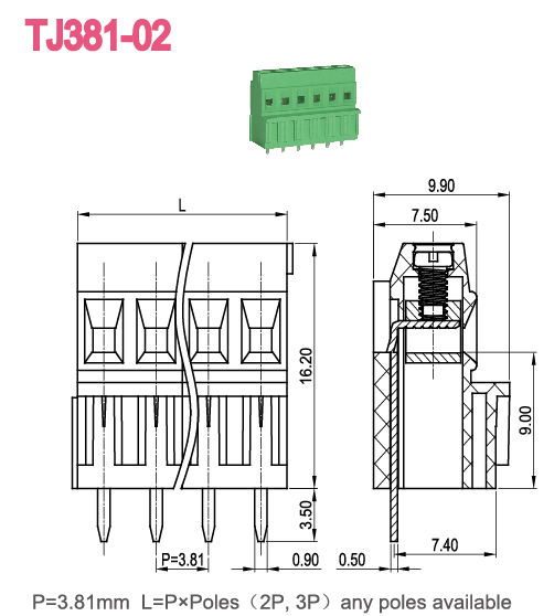 Plastic Strips PCB Screw Terminal Block Right Angle Wire
