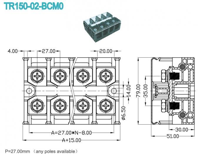 27.0mm Panel Mount High Current Terminal Block High Voltage