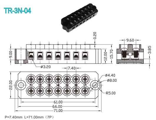 Panel Mount Terminal Connector Black 7.40mm 300V 20A 7P