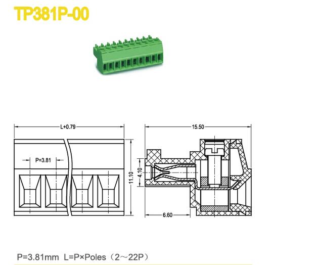 Female Type PCB Plug In Terminal Block 3.81mm 5.08mm