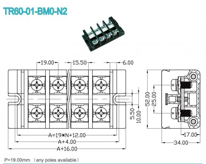 19.00mm Panel Mount High Current Terminal Block pluggable