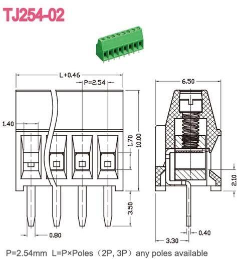 12 Poles Electronic Green pcb terminal block connector