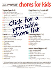 Click for printable chore list