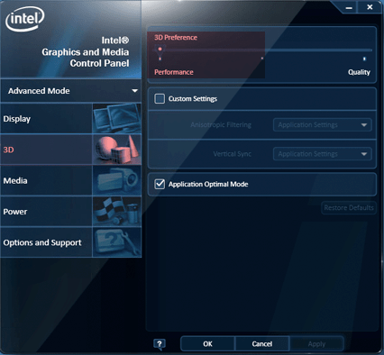 Intel Graphics 3D preferences