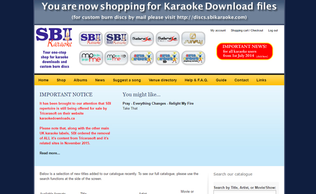 SBI Karaoke Download Store
