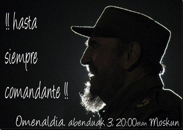 Homenaje a Fidel Castro en Irun el 3 de diciembre. Fotos de las movilizaciones en Euskadi