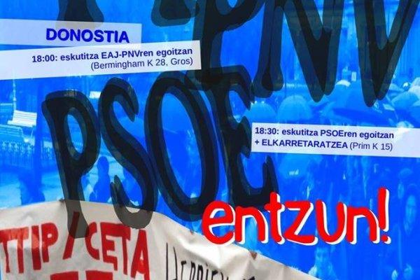 Acciones en Donostia contra el CETA el martes, 27/06/2017 18:00