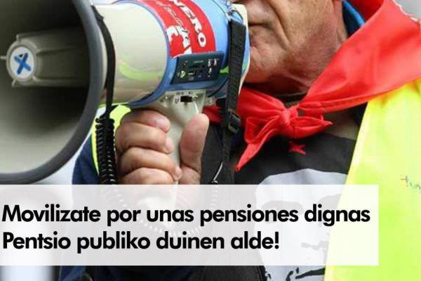El PCE-EPK llama a la participación en las  movilizaciones en defensa de las pensiones públicas convocadas por  asociaciones de pensionistas para este sábado 16 de Noviembre.