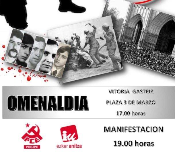 Ofrenda floral a las víctimas de la represión del 3 de Marzo en Gasteiz.