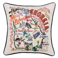 State of Georgia Embroidered Pillow - Georgia Souvenir ...