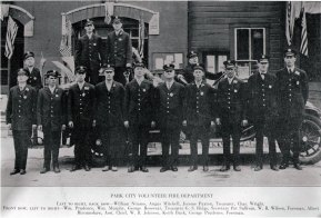 ca.1926, Park City Volunteer Fire Department pose in front of City Hall. Left to right, back row - William Nimmo; Angus Mitchell; Jerome Paxton, treasurer; Charles Wright Front row - William Prudence; William Murphy; George Rosevear, treasurer; G. S. Ridge, secretary; Pat Sullivan; W. B. Wilson, foreman; Albert Bircumshaw, assistant chief; W. B. Johnson; Keith Buck; George Prudence, foreman (also see the Park Record article here: https://newspapers.lib.utah.edu/details?id=7981732#t_7981732)