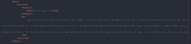 מבנה התוכן המרכזי של דף ה html שלנו, המתוחם בתוך תגית ה main