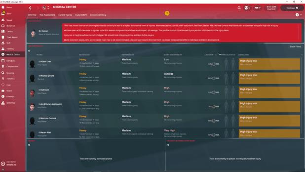 תמונת ממסך המרכז הרפואי ב-Football Manager 2018