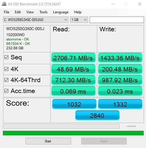 בדיקה AS SSD Game Mode