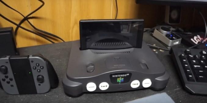 Dieses Bild zeigt ein Bild der Nintendo Switch in einem N64.